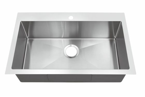 Anti Rust 304ss Top Mount Stainless Steel Kitchen Sink With Sound Dampening Pad